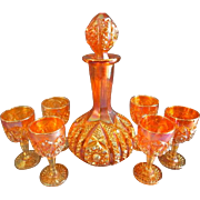 """Imperial Glass Marigold Carnival 8-Piece """"Octagon"""" Pattern Wine Decanter & Glasses"""