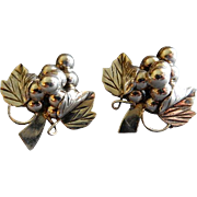 """Mexican Mid Century Sterling Silver """"Grape Cluster"""" Clip-Back Earrings"""