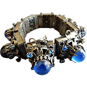 Art Deco Bohemian Royal Blue Cabochon & Rhinestone Antique Silver-Tone Link Bracelet - Over Th