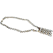 Art Deco Sterling Silver & Czech Faceted Clear Crystals Necklace