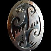 "Silver ""Hopi"" Native American Overlay Brooch/Pendant w/Four Stylized Birds"