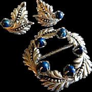 """Binder Brothers Sterling Silver & Lapis """"Wreath"""" Brooch & Earrings Set"""