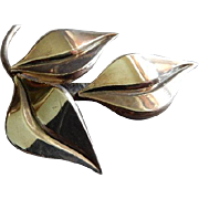 S Christian Fogh Danish Modernist Sterling Silver Leaf Brooch