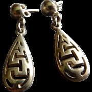 Mexican Sterling Silver Cut-Out Design Dangle Earrings - Pierced