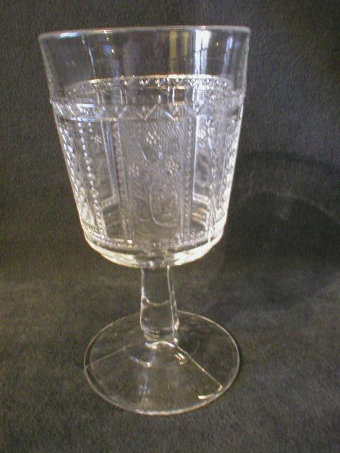 "Set of 6 Early American Pressed Glass ""Paneled Forget-Me-Not"" Pattern Goblets"