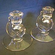"Pair of Fostoria ""Century"" Single Candleholders"