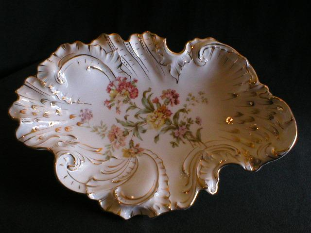 C Tielsch Company Floral Decorated Shallow Bowl or Ice Cream Tray