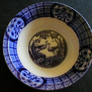 "Johnson Bros Blue Flow ""Mongolia"" Pattern Round Open Vegetable Bowl"