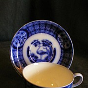 "Johnson Bros Blue Flow ""Mongolia"" Pattern Cup/Saucer & 2 Extra Saucers"
