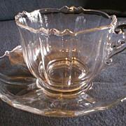 "Set of 8 - Cambridge ""Corinth"" Cups & Saucers #3900 Line w/Optic Bowl"