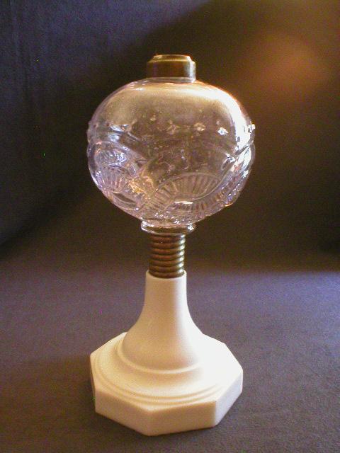 EAPG Kerosene/Oil Lamp Base w/Clear fount & Milk Glass Base
