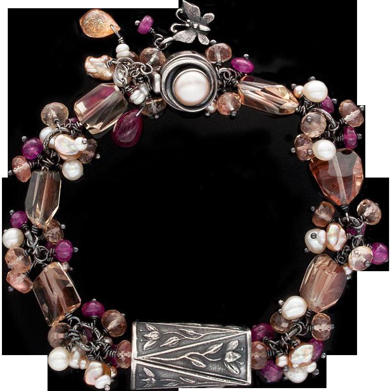 Anne Choi, Pearl, Oregon Sunstone, Ruby Sterling Silver Bracelet