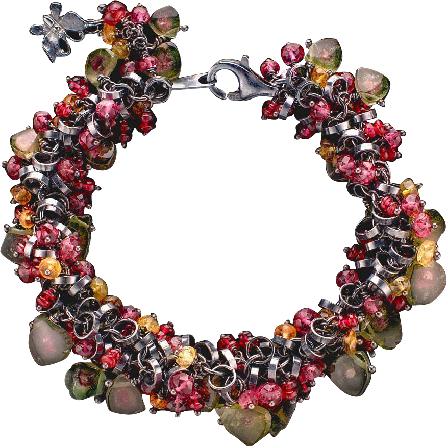 Multi-Colored Tourmaline and Spinel Bracelet Sterling Silver Chain