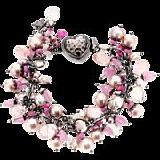 Akoya, Keshi, Freshwater Pearls, Morganite, Sapphire Sterling Silver Bracelet