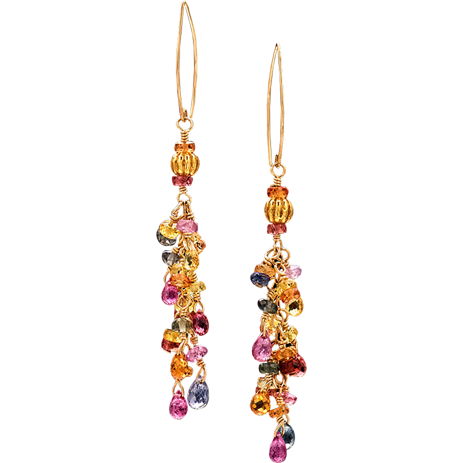 Multicolored Sapphire 18K Yellow Gold Dangle Earrings