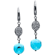 Diamond and Nacozari Turquoise Sterling Silver Earrings