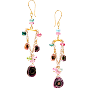 14K and 18K Gold Watermelon Tourmaline Chandelier Dangle Earrings