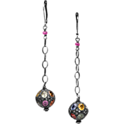 Pave Diamond and Sapphire Sterling Silver Dangle Earrings