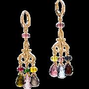 Multi-Colored Tourmaline 18K Yellow Gold Dangle Earrings