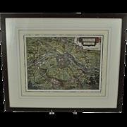 Original Claes Janszoon Visscher Map Siege of Maastricht 1632 17th Century