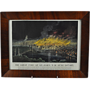 """Original Currier&Ives Hand Colored Lithograph """"The Great Fire at St. John"""" 1877"""