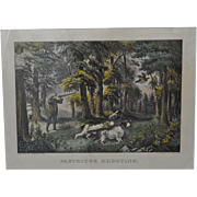 """Original Currier & Ives Hand Colored Small Folio Lithograph """"Partridge Shooting"""""""