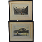 Pair of William Daniell Hand Painted Aquatint Scottish Landscape Prints 1819