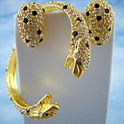 Kenneth Jay Lane Austrian Crystal Twin Leopard Head Bracelet And Matching Earrings
