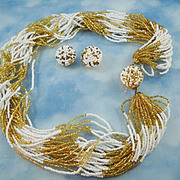 Signed Made In Italy Gold & White Glass bead Torsade Necklace Set
