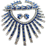 Signed Robert Sorrell Sapphire Blue, White Opal & Ice Crystal Necklace Bracelet & Earring Set