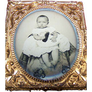 Ambrotype Photo Child Young Girl In Full Case Looks Like A Doll