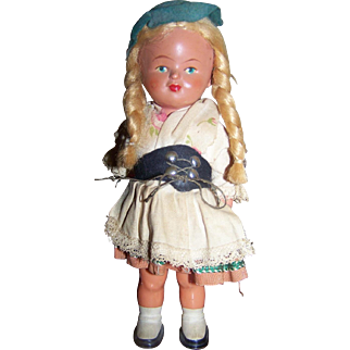 German Wind-Up Celluloid Doll With Key FREE US SHIP