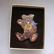 Vintage Boxed Steiff Enamel Zotty Teddy Pin
