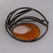 Sterling Silver Amber set Brooch