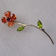 Sterling Silver Crystal set Flower Brooch