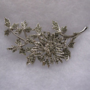 Large Signed Sphinx of England Marcasite Floral Brooch