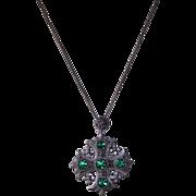 Vintage 935 Silver Jerusalem Cross Brooch Pendant & Chain