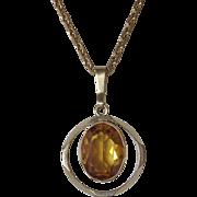 Gold Filled Amber Rhinestone Pendant & Chain