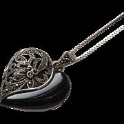 Sterling Silver Marcasite Heart Locket Vinaigrette Pendant Necklace