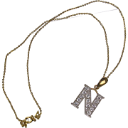 9K Gold Crystal Set Letter N Pendant