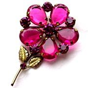 Gorgeous Gilded Pink Ruby Rhinestone Brooch