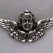 Lovely Large Vintage Sterling Silver Cherub Brooch