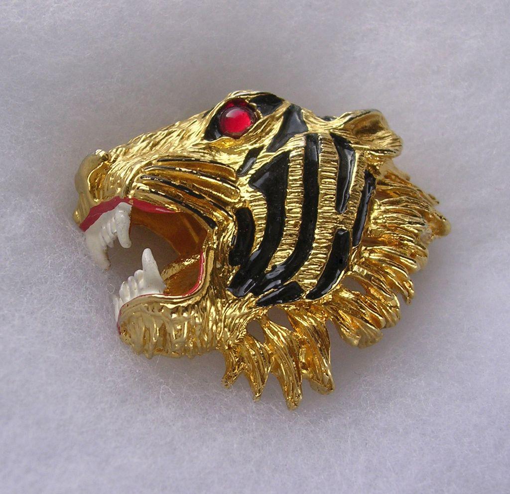 Large Vintage Enamel & Ruby Glass Tiger's Head Brooch
