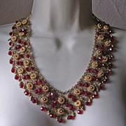 Gorgeous Vintage Red Glass Bead Filigree Bib Necklace & Earrings Demi-Parure