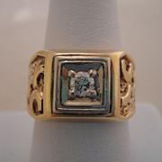 Heavy Quality Vintage 14K Gold Mens Diamond Ring