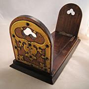 Antique English Mahogany Brass Expanding Book Slide Holder