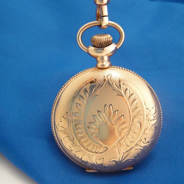 Antique 1912 Waltham Ladies Pocket Watch Engraved G.F. Hunter Case with Watch Chain
