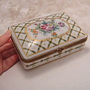 Stunning Big Vintage Painted Gilt Porcelain French Hinged Dresser Box for Birks Canada