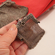 Victorian 800 Silver Mesh Chatelaine Doll Purse Bag