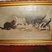 Antique English Oil Painting Kittens
